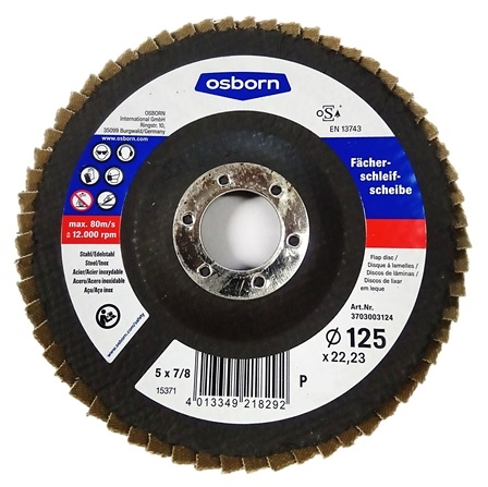Tarcza lamelkowa OSBORN - SPECIAL do szlifowania stali/stali nierdzewnej Ø 125 p-40