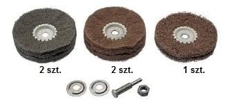 Zestaw tarcz z włókniny ściernej coarse+medium+fine Ø 100 + uchwyt trzpieniowy 6mm OSBORN