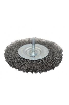 Szczotka druciana tarczowa trzpień Ø 100x12 drut stalowy falisty 0.30 - nr.0008600521 OSBORN do czyszczenia rdzy, farby, nalotów, gratowania, spawów.