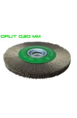 Szczotka druciana tarczowa Ø 200x20 otwór 32 + komplet redukcji, drut nierdzewny falisty 0,20 nr.2008566341 OSBORN do czyszczenia rdzy, farby, nalotów, gratowania, spawów