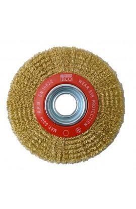 Szczotka druciana tarczowa Ø 178x25 otwór 32 + komplet redukcji, drut stalowy mosiądzowany falisty 0,30 - nr.0088554062 OSBORN do czyszczenia rdzy, farby, nalotów, gratowania, spawów