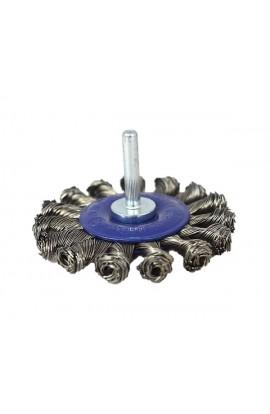 Szczotka druciana tarczowa trzpień Ø 75x12 drut stalowy splatany 0.50 - nr.0202611151 OSBORN do czyszczenia rdzy, farby, nalotów, gratowania, spawów