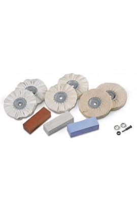 Uniwersalny zestaw 6 tarcz polerskich na trzpieniu Ø 6mm + 3 pasty polerskie OSBORN nr. 8603600010